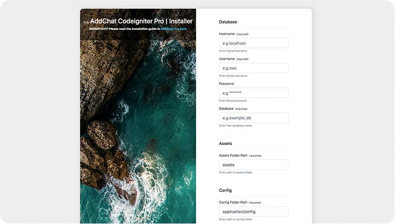 AddChat CodeIgniter Pro Installer
